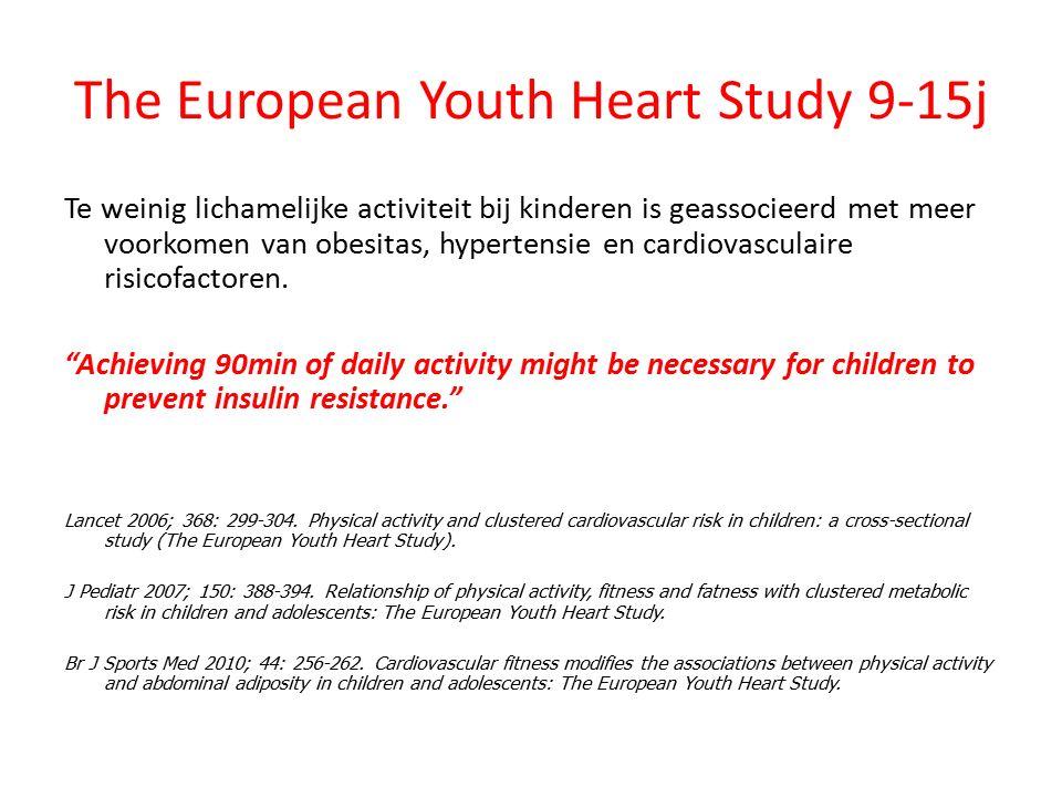 The European Youth Heart Study 9-15j Te weinig lichamelijke activiteit bij kinderen is geassocieerd met meer voorkomen van obesitas, hypertensie en ca