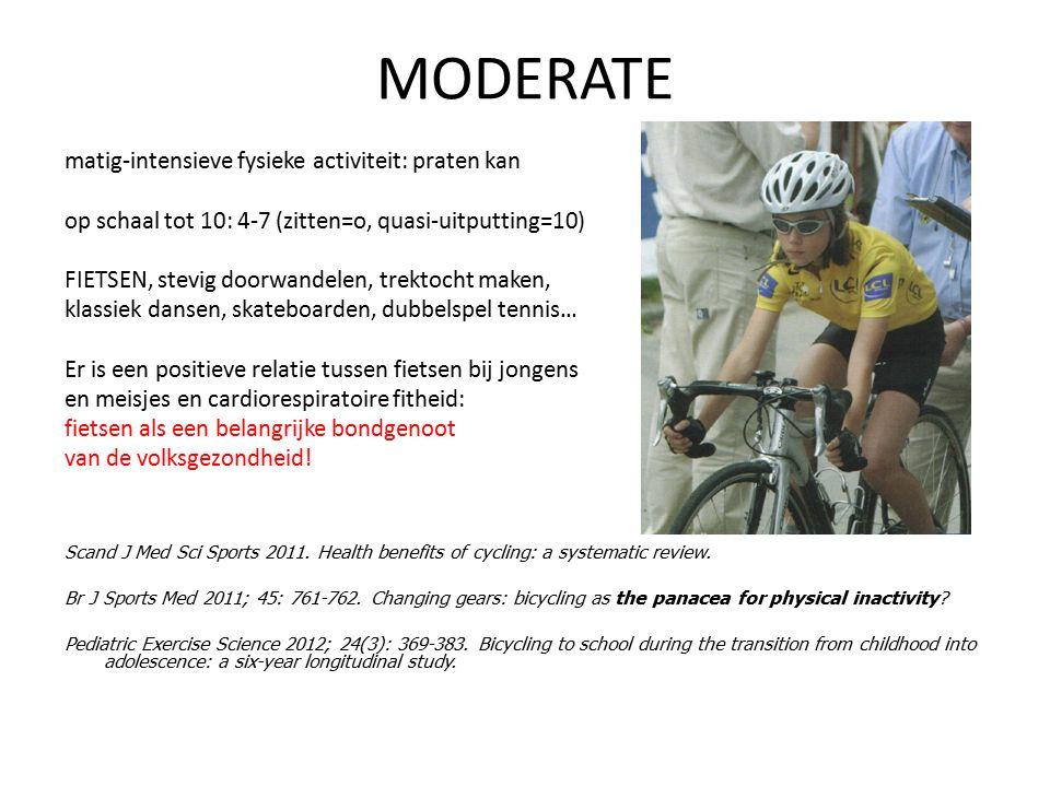 MODERATE matig-intensieve fysieke activiteit: praten kan op schaal tot 10: 4-7 (zitten=o, quasi-uitputting=10) FIETSEN, stevig doorwandelen, trektocht