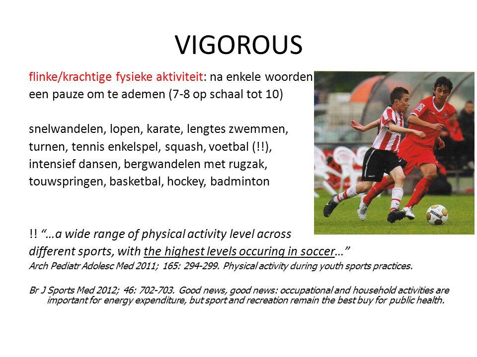 VIGOROUS flinke/krachtige fysieke aktiviteit: na enkele woorden een pauze om te ademen (7-8 op schaal tot 10) snelwandelen, lopen, karate, lengtes zwe