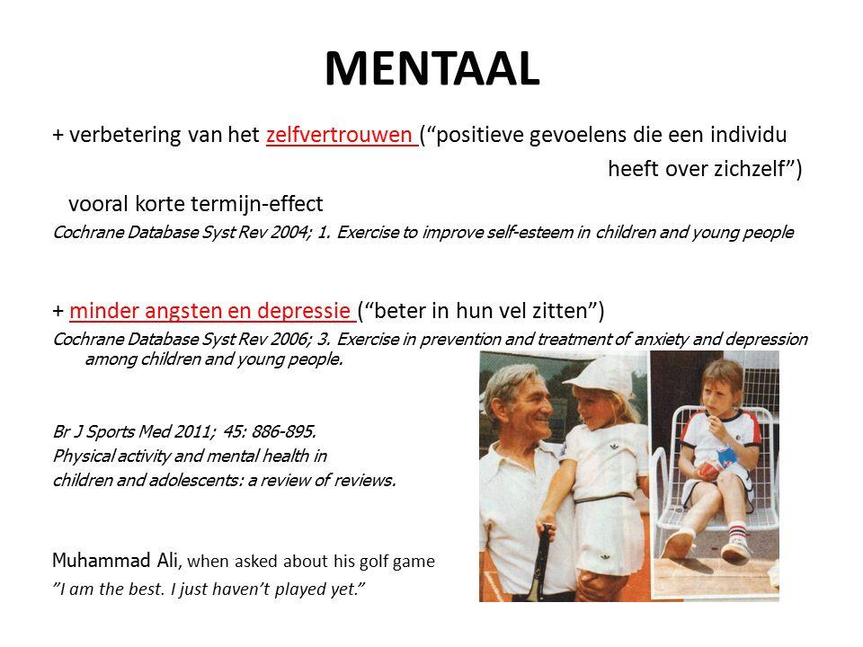 """MENTAAL + verbetering van het zelfvertrouwen (""""positieve gevoelens die een individu heeft over zichzelf"""") vooral korte termijn-effect Cochrane Databas"""
