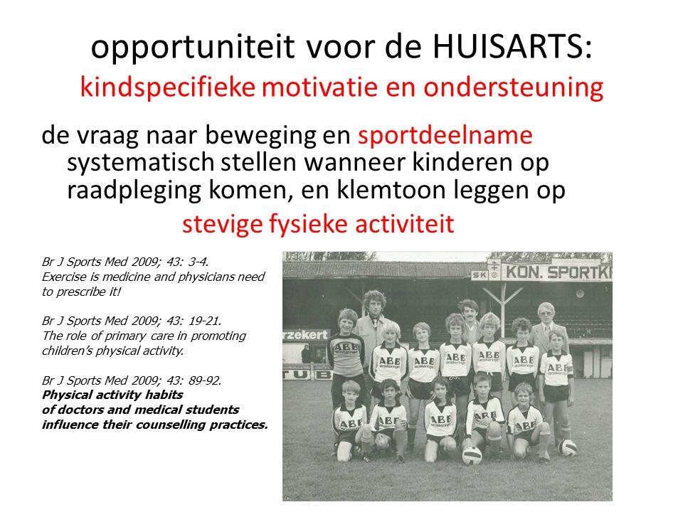 opportuniteit voor de HUISARTS: kindspecifieke motivatie en ondersteuning de vraag naar beweging en sportdeelname systematisch stellen wanneer kindere