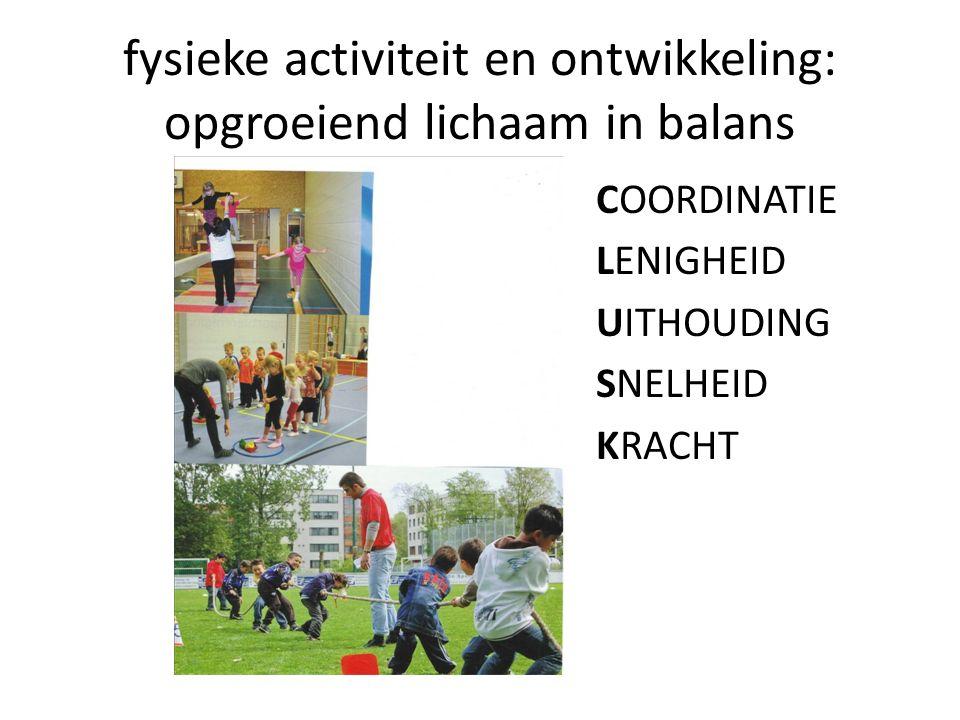 fysieke activiteit en ontwikkeling: opgroeiend lichaam in balans COORDINATIE LENIGHEID UITHOUDING SNELHEID KRACHT
