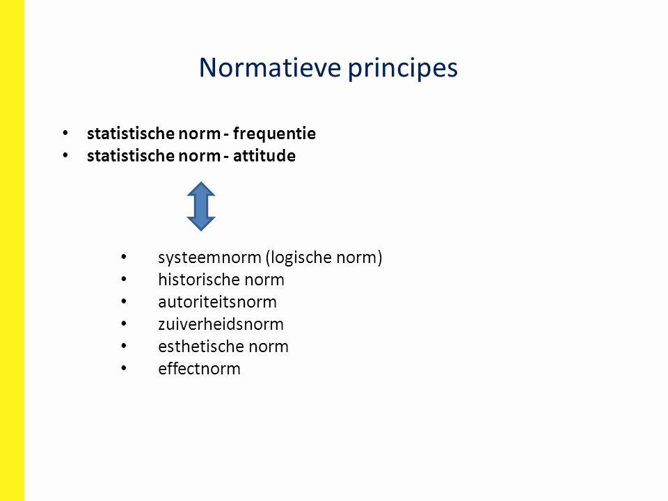 Normatieve principes statistische norm - frequentie statistische norm - attitude systeemnorm (logische norm) historische norm autoriteitsnorm zuiverheidsnorm esthetische norm effectnorm