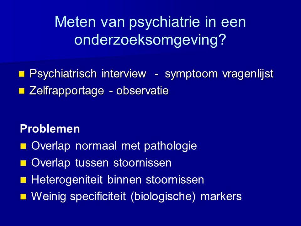 Meten van psychiatrie in een onderzoeksomgeving? Psychiatrisch interview - symptoom vragenlijst Psychiatrisch interview - symptoom vragenlijst Zelfrap