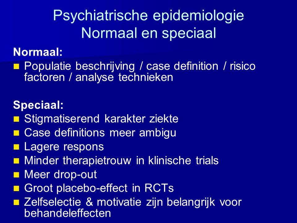 Psychiatrische epidemiologie Normaal en speciaal Normaal: Populatie beschrijving / case definition / risico factoren / analyse technieken Speciaal: St