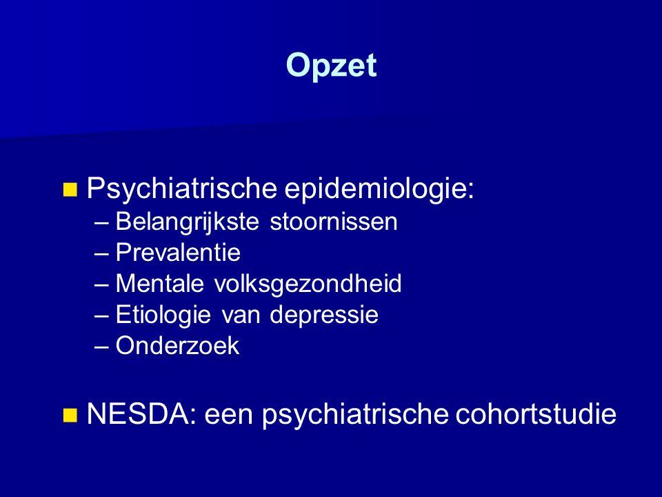 Opzet Psychiatrische epidemiologie: – –Belangrijkste stoornissen – –Prevalentie – –Mentale volksgezondheid – –Etiologie van depressie – –Onderzoek NES