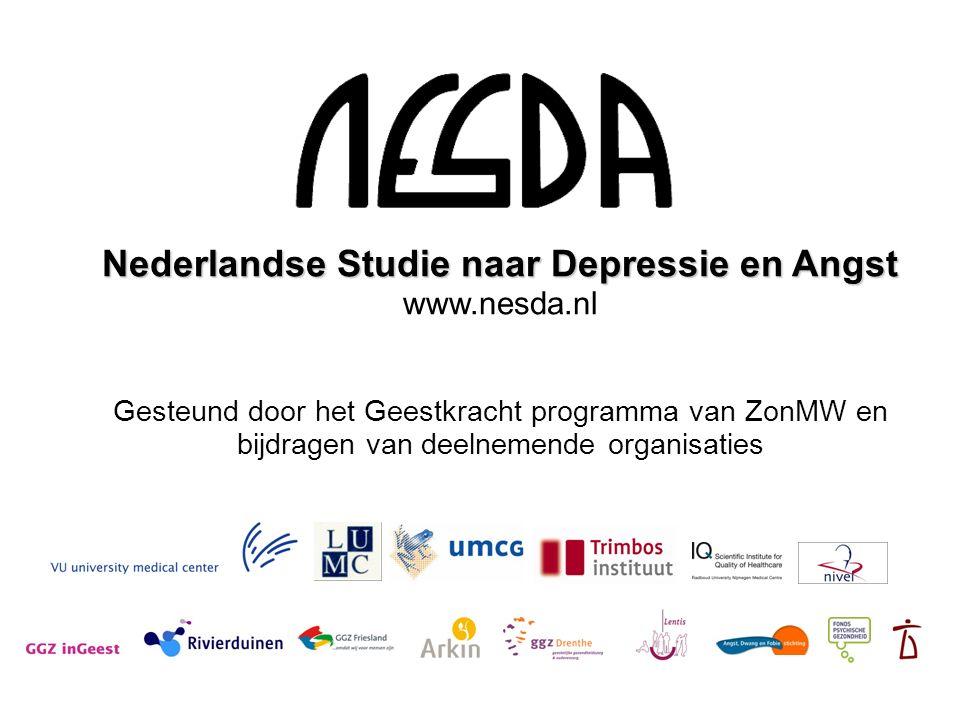 Nederlandse Studie naar Depressie en Angst www.nesda.nl Gesteund door het Geestkracht programma van ZonMW en bijdragen van deelnemende organisaties