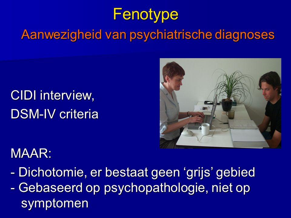 Fenotype Aanwezigheid van psychiatrische diagnoses CIDI interview, DSM-IV criteria MAAR: - Dichotomie, er bestaat geen 'grijs' gebied - Gebaseerd op p