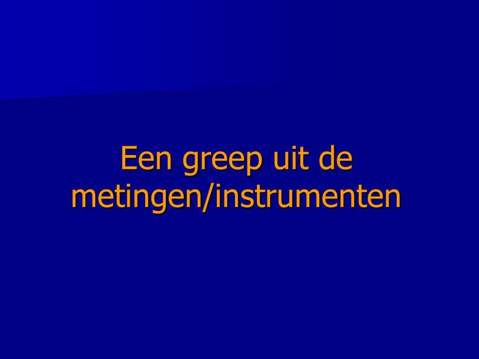 Een greep uit de metingen/instrumenten