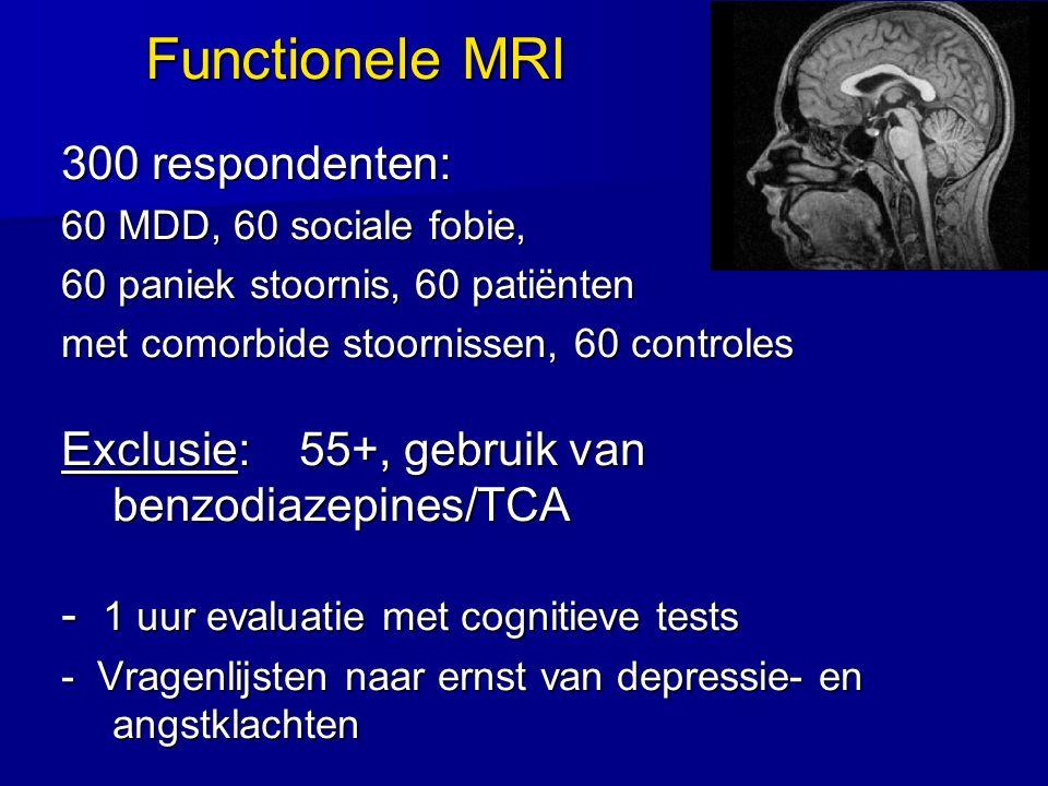 Functionele MRI 300 respondenten: 60 MDD, 60 sociale fobie, 60 paniek stoornis, 60 patiënten met comorbide stoornissen, 60 controles Exclusie: 55+, ge