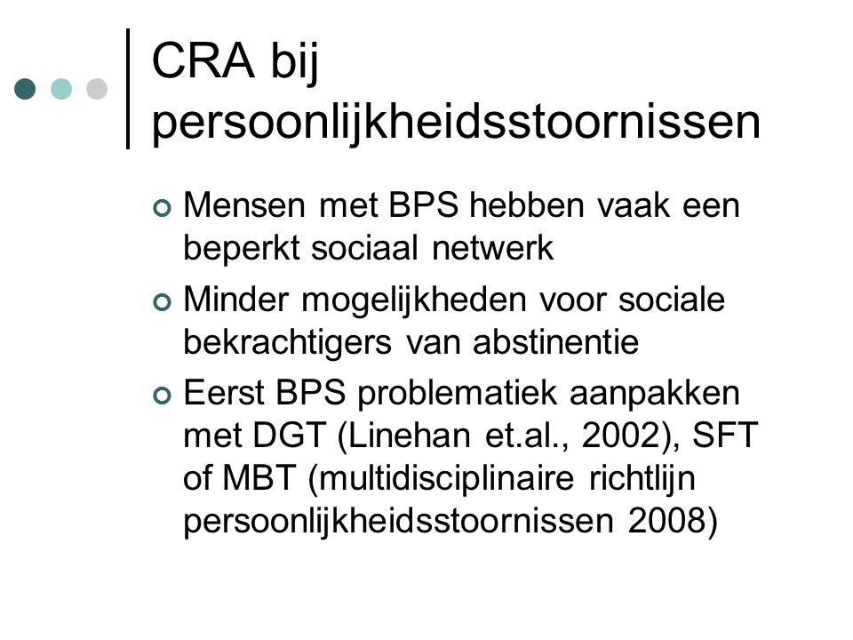 CRA bij persoonlijkheidsstoornissen Mensen met BPS hebben vaak een beperkt sociaal netwerk Minder mogelijkheden voor sociale bekrachtigers van abstinentie Eerst BPS problematiek aanpakken met DGT (Linehan et.al., 2002), SFT of MBT (multidisciplinaire richtlijn persoonlijkheidsstoornissen 2008)