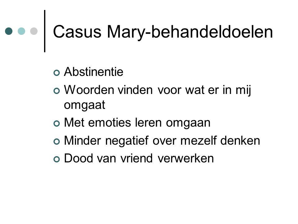 Casus Mary-behandeldoelen Abstinentie Woorden vinden voor wat er in mij omgaat Met emoties leren omgaan Minder negatief over mezelf denken Dood van vriend verwerken