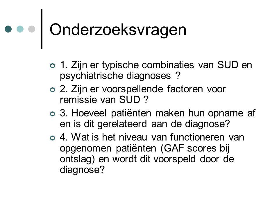 Onderzoeksvragen 1. Zijn er typische combinaties van SUD en psychiatrische diagnoses .