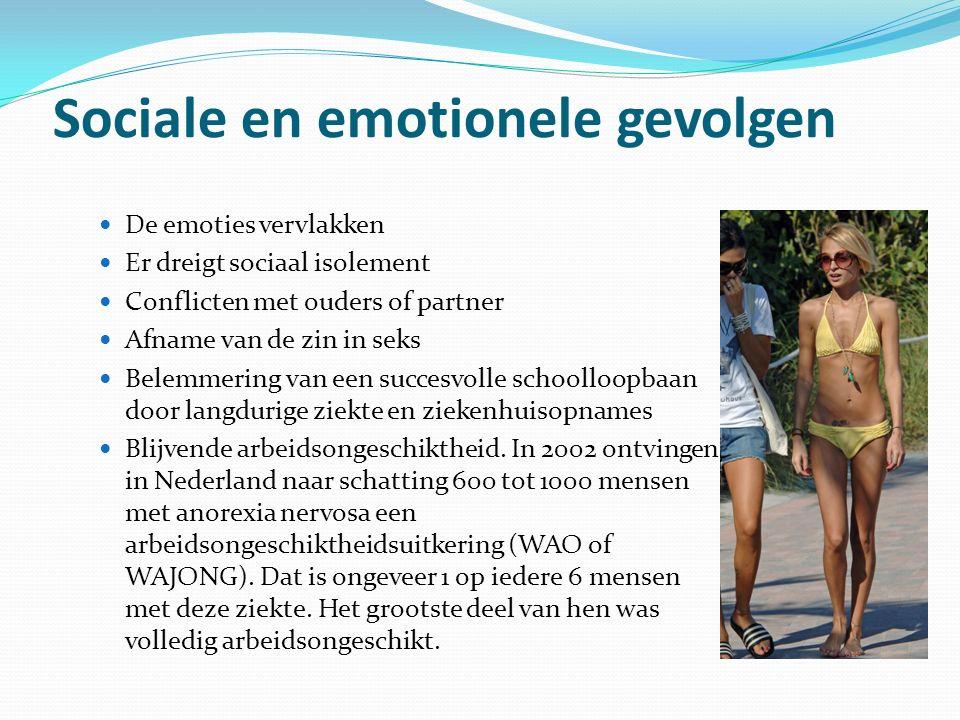 Sociale en emotionele gevolgen De emoties vervlakken Er dreigt sociaal isolement Conflicten met ouders of partner Afname van de zin in seks Belemmerin
