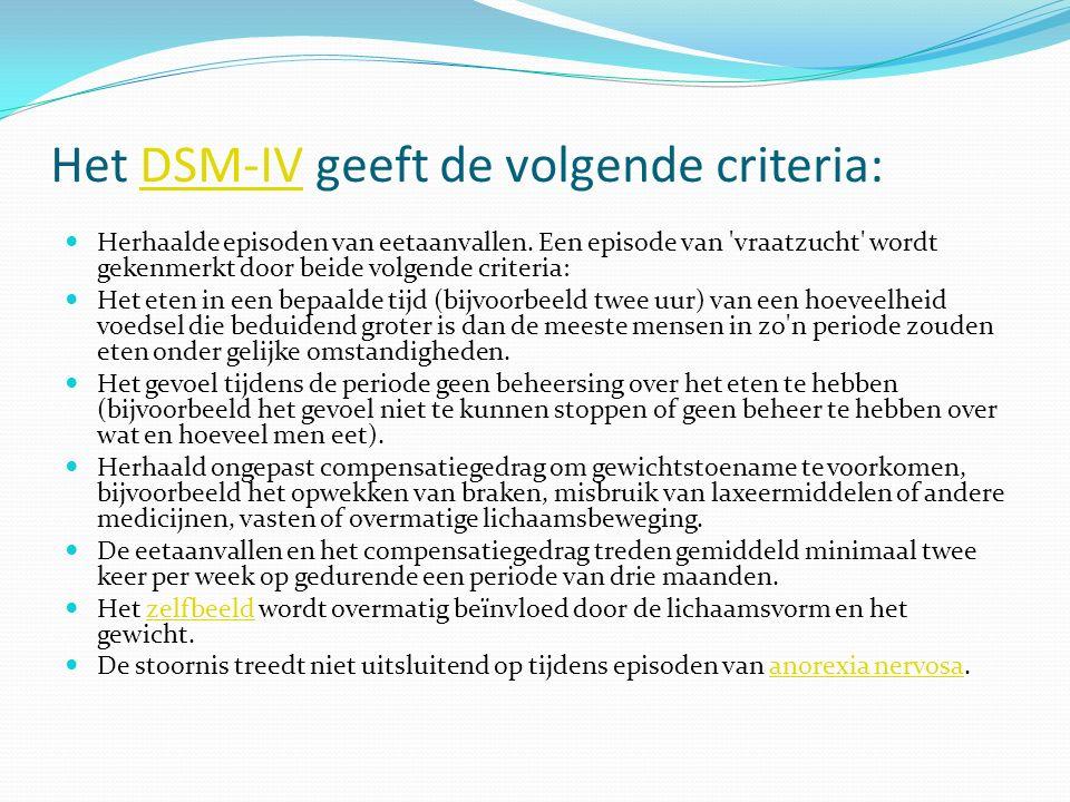Het DSM-IV geeft de volgende criteria:DSM-IV Herhaalde episoden van eetaanvallen. Een episode van 'vraatzucht' wordt gekenmerkt door beide volgende cr