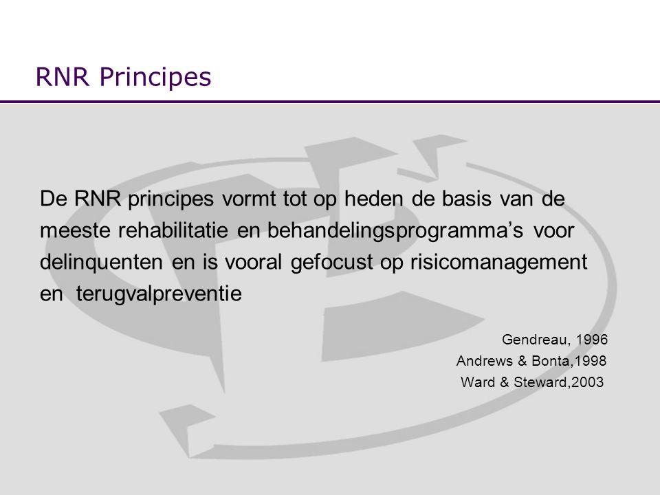 RNR Principes De RNR principes vormt tot op heden de basis van de meeste rehabilitatie en behandelingsprogramma's voor delinquenten en is vooral gefocust op risicomanagement en terugvalpreventie Gendreau, 1996 Andrews & Bonta,1998 Ward & Steward,2003