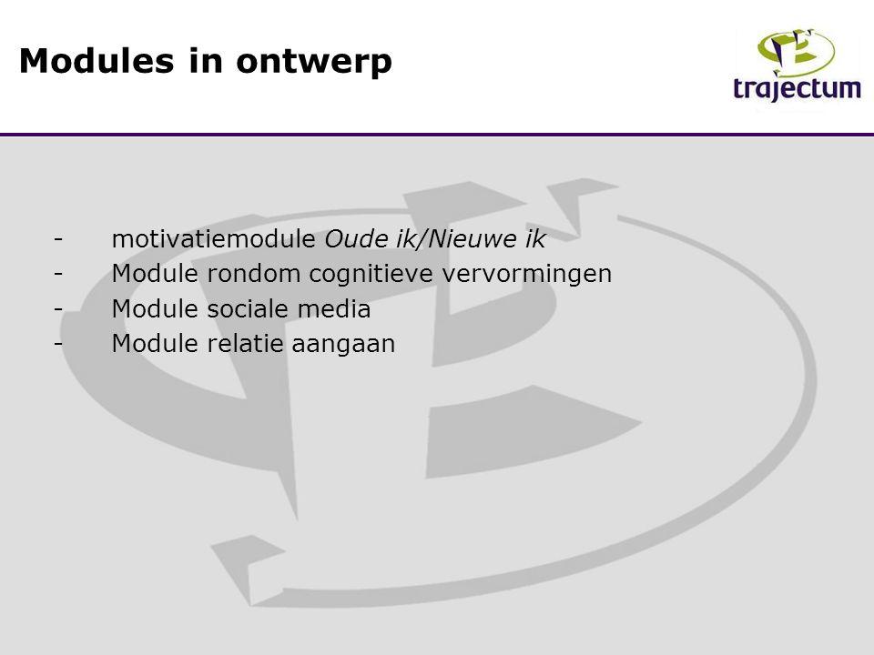 -motivatiemodule Oude ik/Nieuwe ik -Module rondom cognitieve vervormingen -Module sociale media -Module relatie aangaan Modules in ontwerp