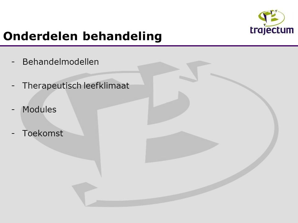 Om die uitgangspunten gestalte te geven zijn we gestart met: -Personeel vragen of ze met zedendelinquenten willen werken -Training motiverende gespreksvoering bij LVB cliënten voor de medewerkers.