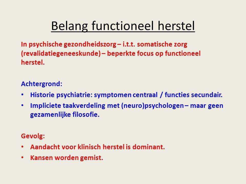 Belang functioneel herstel In psychische gezondheidszorg – i.t.t.