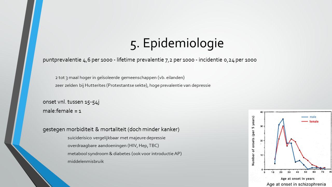 5. Epidemiologie puntprevalentie 4,6 per 1000 - lifetime prevalentie 7,2 per 1000 - incidentie 0,24 per 1000 2 tot 3 maal hoger in geïsoleerde gemeens