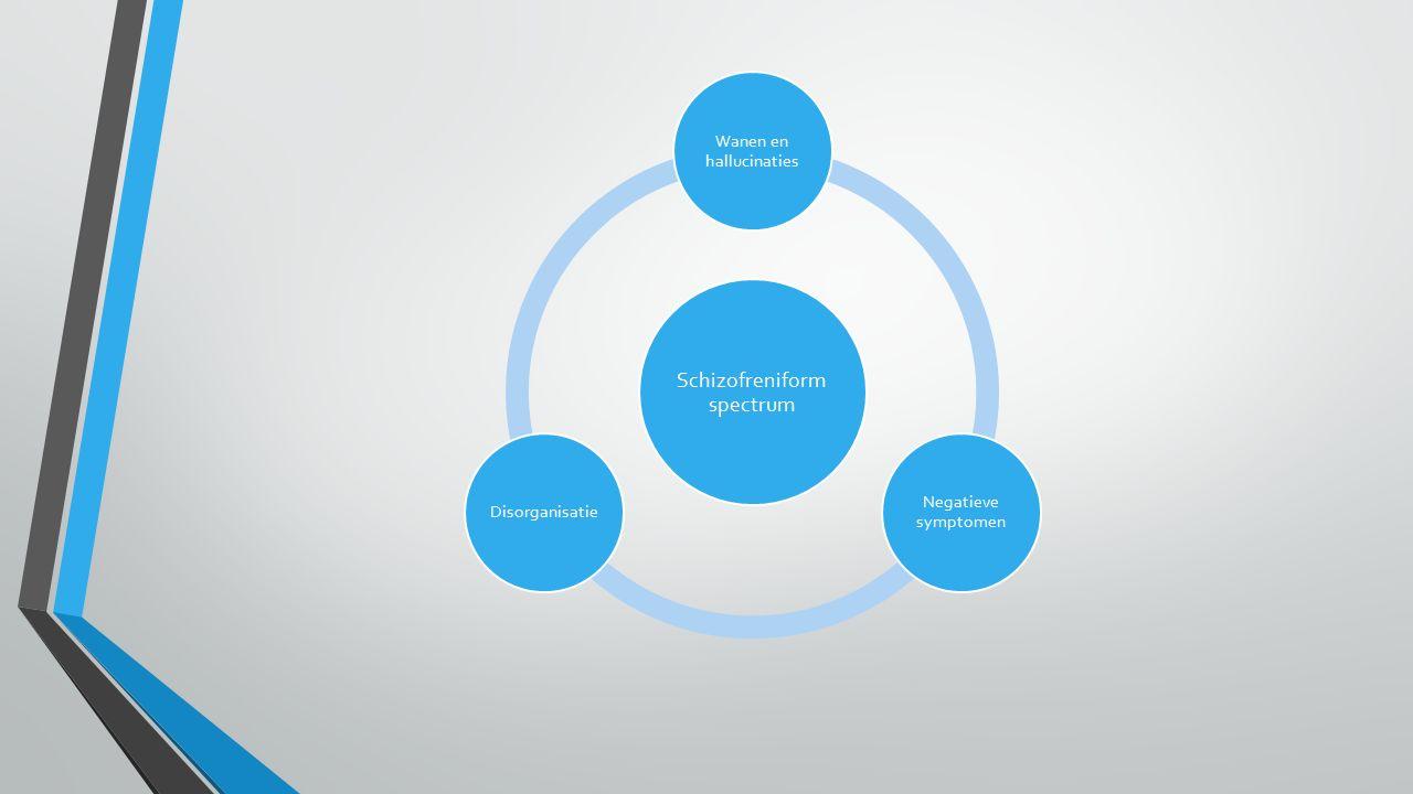 Schizofreniform spectrum Wanen en hallucinaties Negatieve symptomen Disorganisatie
