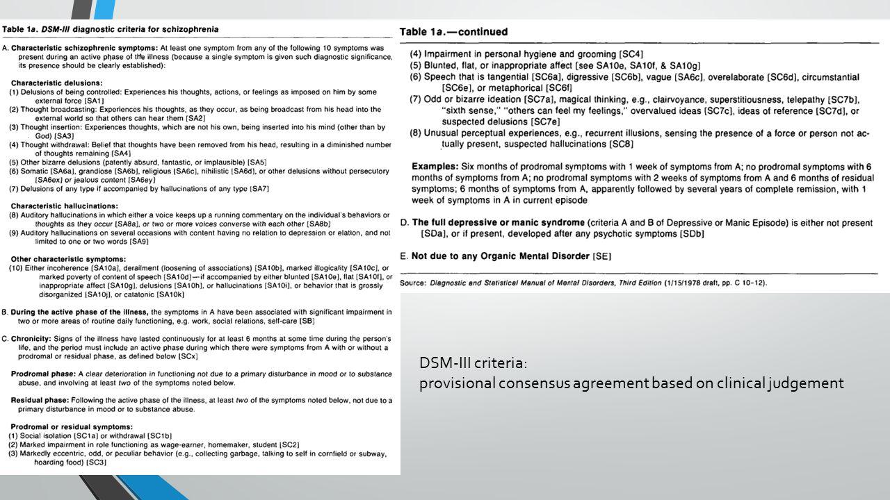 Diagnostische criteria +betrouwbaar basis voor multi-center onderzoek éénduidige professionele communicatie -oversimplificatie van totale klinisch beeld ontmoediging van navraag uitgebreide VG individuele patiënt, indiv.