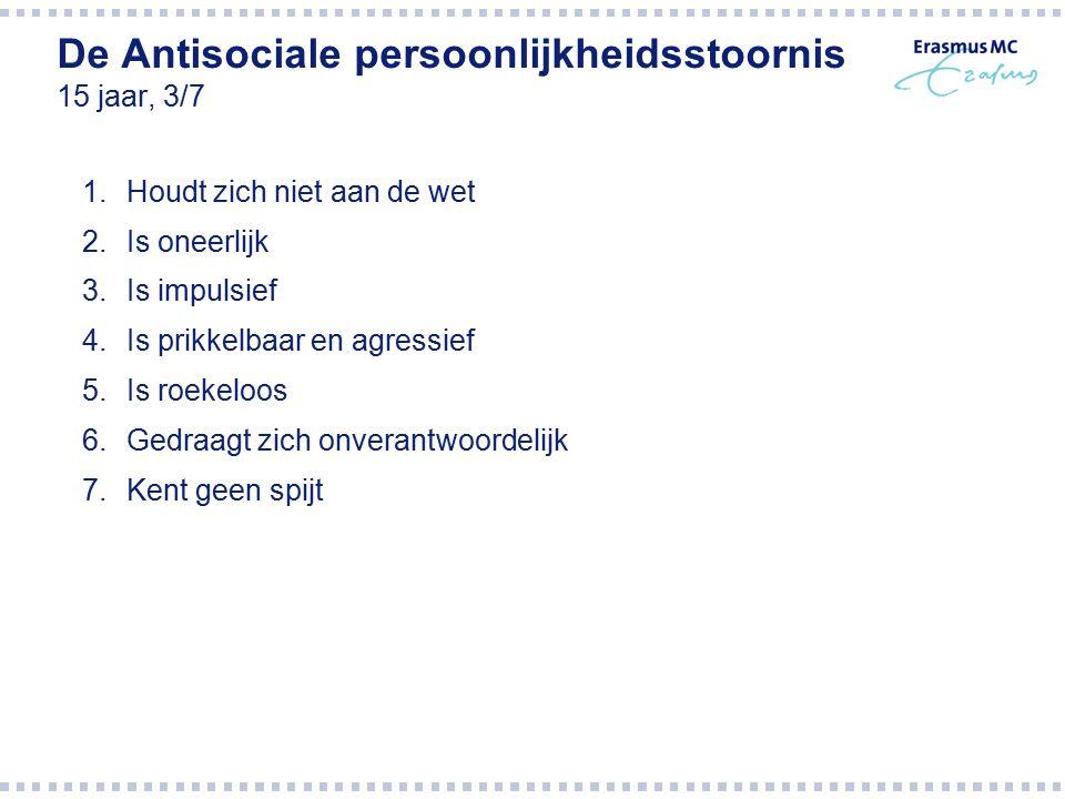 De Antisociale persoonlijkheidsstoornis 15 jaar, 3/7 1.Houdt zich niet aan de wet 2.Is oneerlijk 3.Is impulsief 4.Is prikkelbaar en agressief 5.Is roe