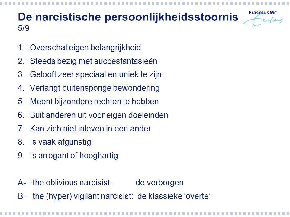De narcistische persoonlijkheidsstoornis 5/9 1.Overschat eigen belangrijkheid 2.Steeds bezig met succesfantasieën 3.Gelooft zeer speciaal en uniek te