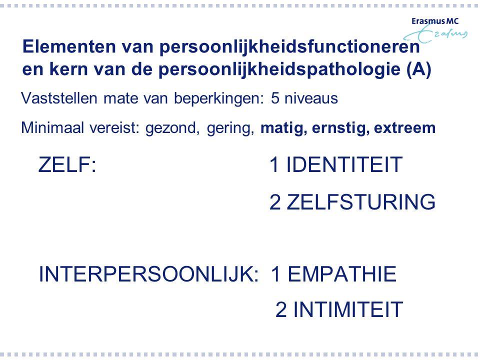 Elementen van persoonlijkheidsfunctioneren en kern van de persoonlijkheidspathologie (A) Vaststellen mate van beperkingen: 5 niveaus Minimaal vereist: