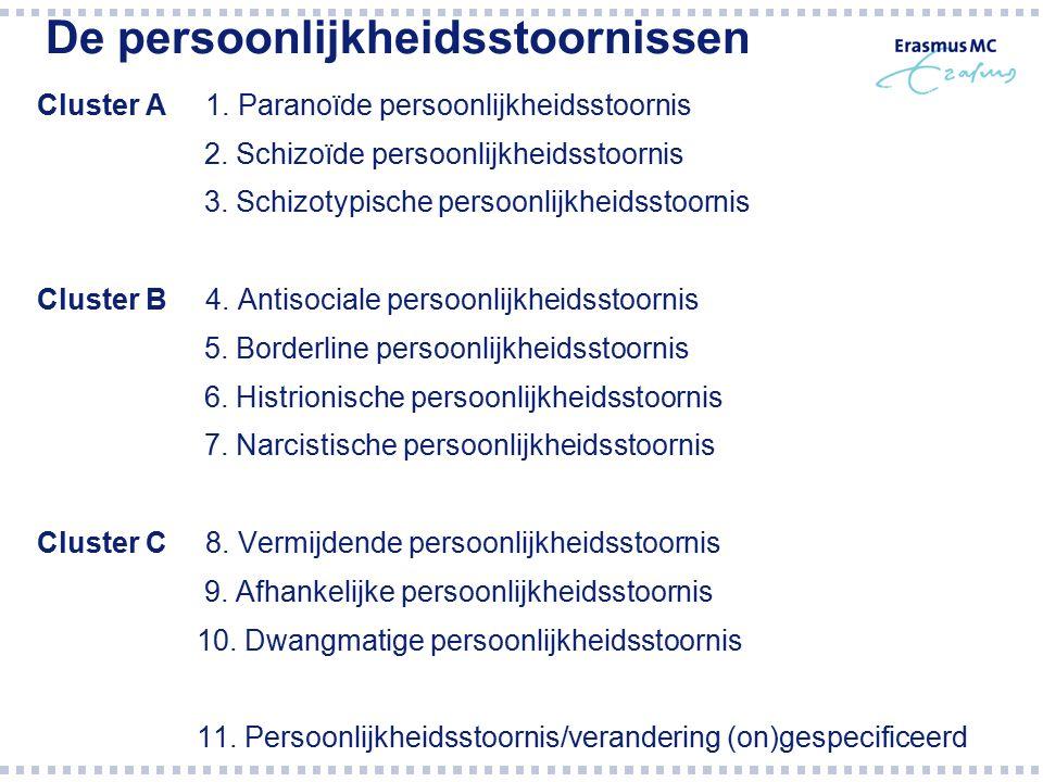 De persoonlijkheidsstoornissen Cluster A 1. Paranoïde persoonlijkheidsstoornis 2. Schizoïde persoonlijkheidsstoornis 3. Schizotypische persoonlijkheid