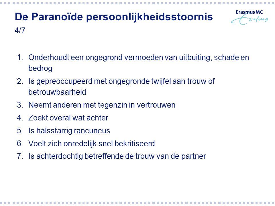 De Paranoïde persoonlijkheidsstoornis 4/7 1.Onderhoudt een ongegrond vermoeden van uitbuiting, schade en bedrog 2.Is gepreoccupeerd met ongegronde twi