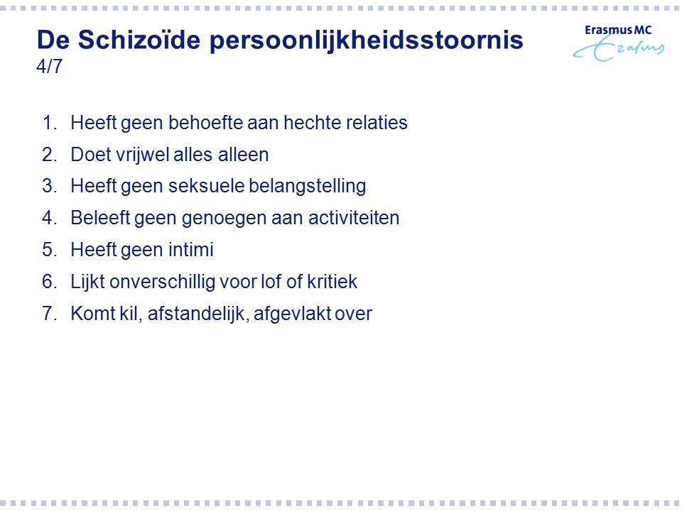 De Schizoïde persoonlijkheidsstoornis 4/7 1.Heeft geen behoefte aan hechte relaties 2.Doet vrijwel alles alleen 3.Heeft geen seksuele belangstelling 4