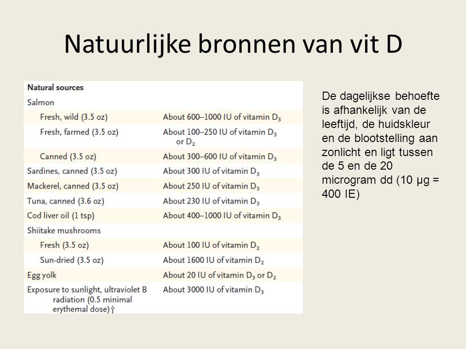 Natuurlijke bronnen van vit D De dagelijkse behoefte is afhankelijk van de leeftijd, de huidskleur en de blootstelling aan zonlicht en ligt tussen de 5 en de 20 microgram dd (10 μg = 400 IE)