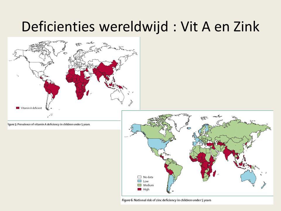 Deficienties wereldwijd : Vit A en Zink