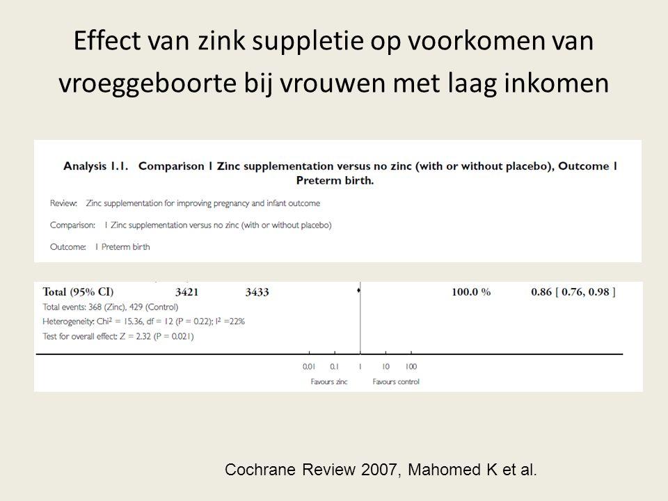 Effect van zink suppletie op voorkomen van vroeggeboorte bij vrouwen met laag inkomen Cochrane Review 2007, Mahomed K et al.