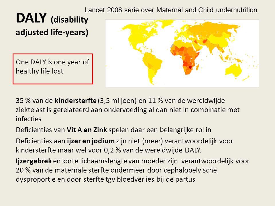 DALY (disability adjusted life-years) 35 % van de kindersterfte (3,5 miljoen) en 11 % van de wereldwijde ziektelast is gerelateerd aan ondervoeding al dan niet in combinatie met infecties Deficienties van Vit A en Zink spelen daar een belangrijke rol in Deficienties aan ijzer en jodium zijn niet (meer) verantwoordelijk voor kindersterfte maar wel voor 0,2 % van de wereldwijde DALY.
