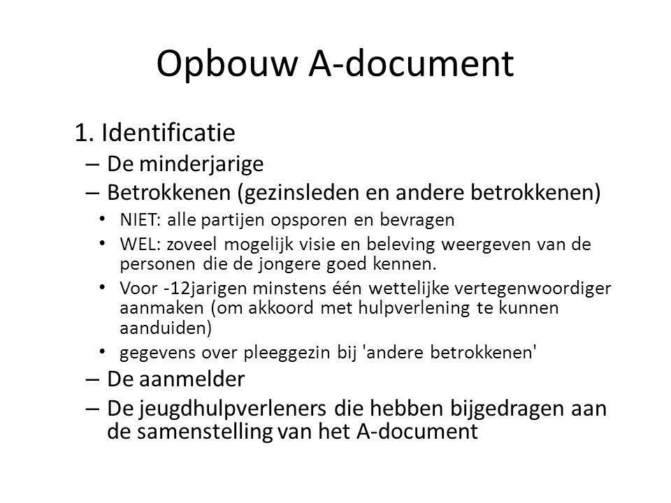 Opbouw A-document 1. Identificatie – De minderjarige – Betrokkenen (gezinsleden en andere betrokkenen) NIET: alle partijen opsporen en bevragen WEL: z