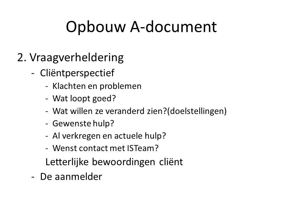 Opbouw A-document 2. Vraagverheldering -Cliëntperspectief -Klachten en problemen -Wat loopt goed.