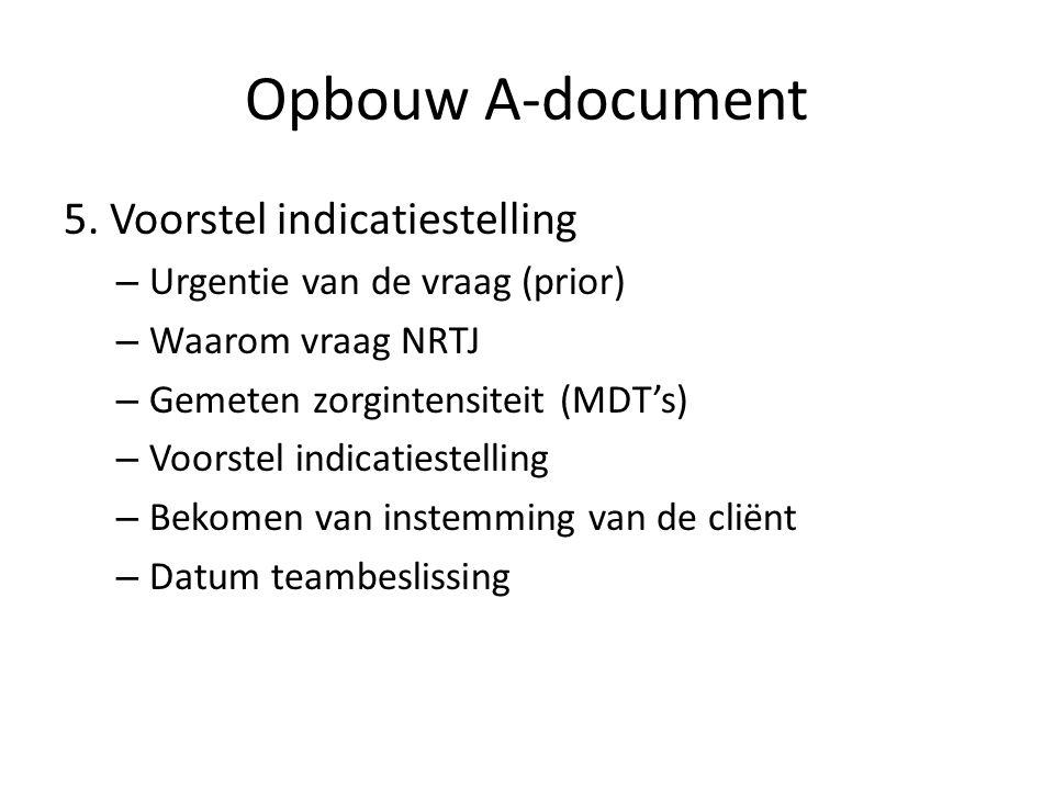 Opbouw A-document 5. Voorstel indicatiestelling – Urgentie van de vraag (prior) – Waarom vraag NRTJ – Gemeten zorgintensiteit (MDT's) – Voorstel indic