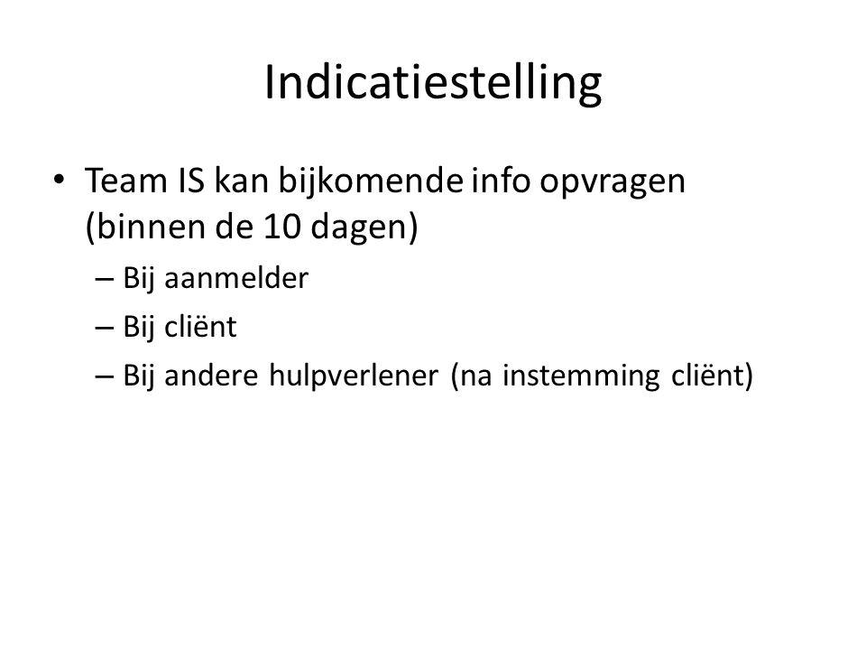 Team IS kan bijkomende info opvragen (binnen de 10 dagen) – Bij aanmelder – Bij cliënt – Bij andere hulpverlener (na instemming cliënt)