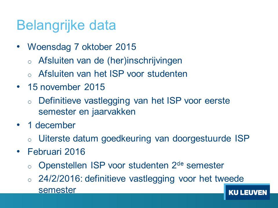 Belangrijke data Woensdag 7 oktober 2015 o Afsluiten van de (her)inschrijvingen o Afsluiten van het ISP voor studenten 15 november 2015 o Definitieve