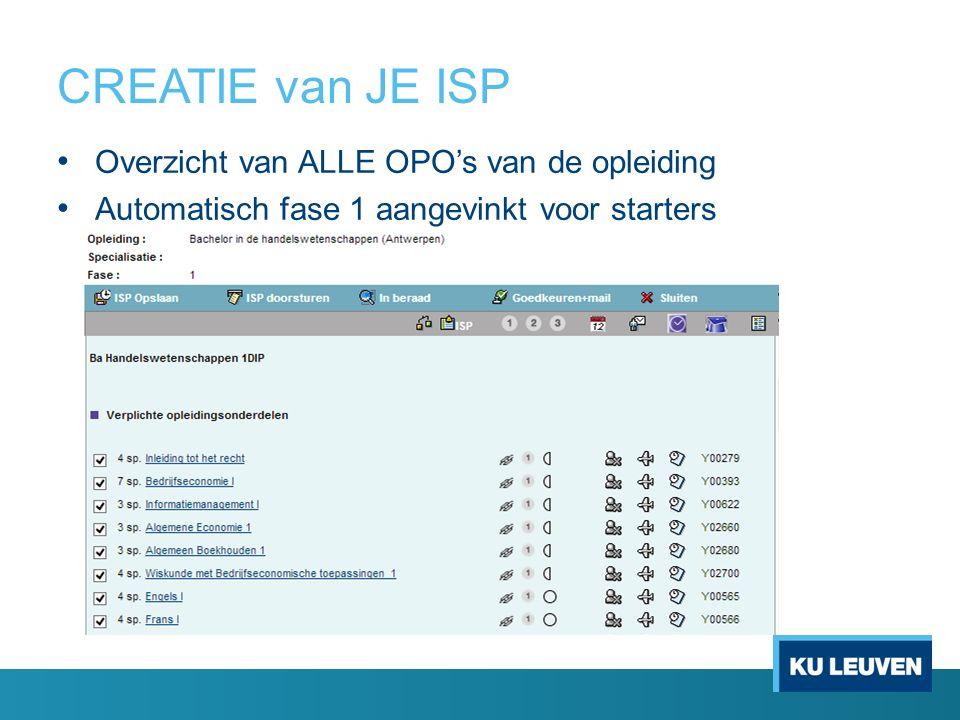 CREATIE van JE ISP Overzicht van ALLE OPO's van de opleiding Automatisch fase 1 aangevinkt voor starters