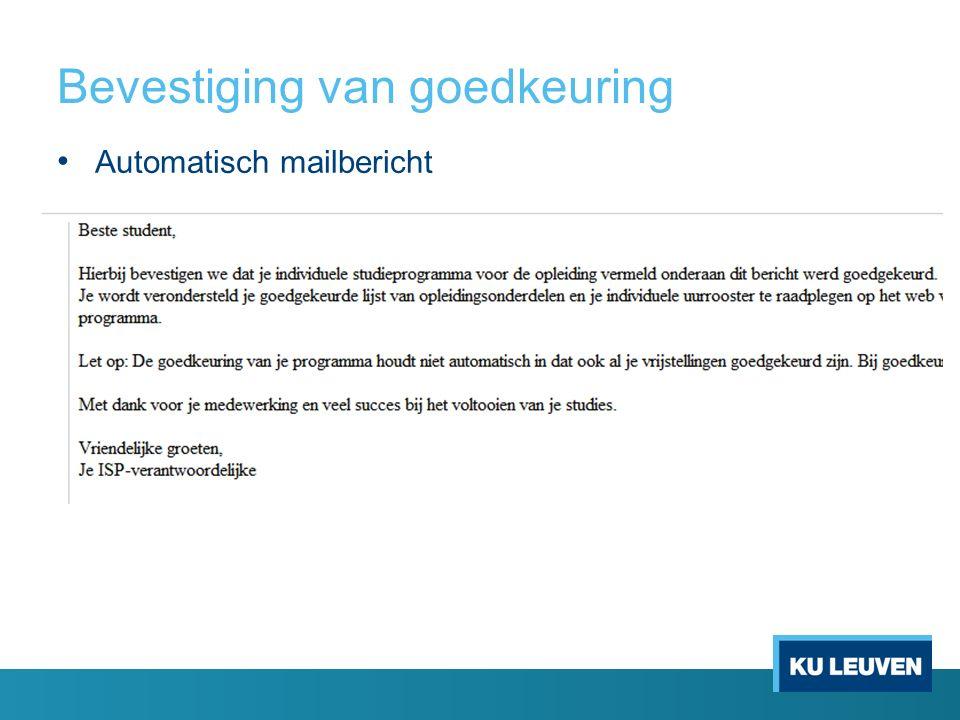 Bevestiging van goedkeuring Automatisch mailbericht