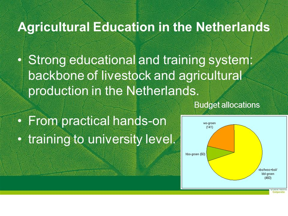 Agricultural Education in the Netherlands Learning by doing : Practical Training Livestock: PTC+ and DTC (Dairy Training Centre) Horticulture: Various training initiatives