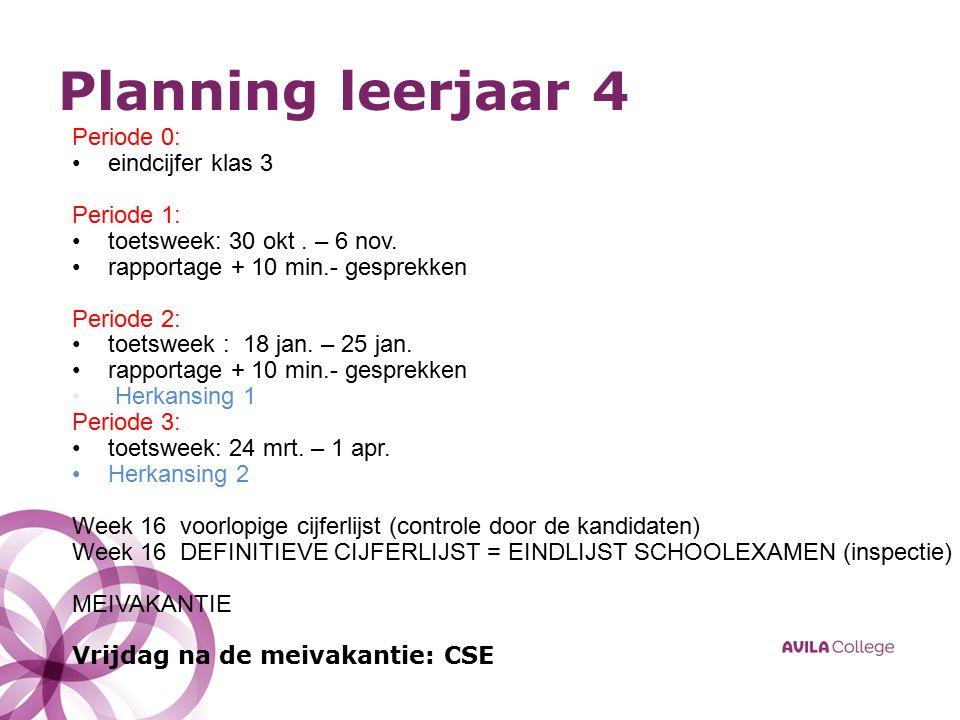 Planning leerjaar 4 Periode 0: eindcijfer klas 3 Periode 1: toetsweek: 30 okt.