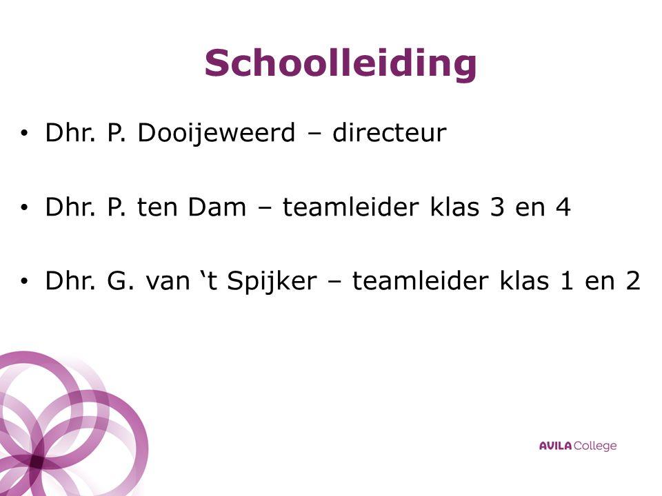 Schoolleiding Dhr. P. Dooijeweerd – directeur Dhr.