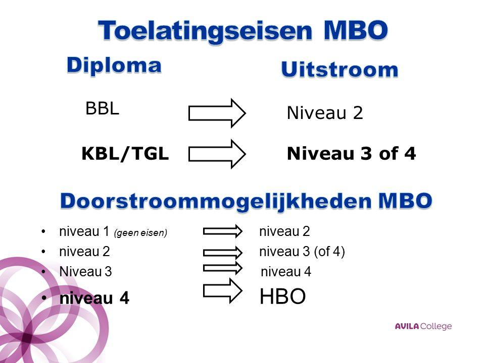 niveau 1 (geen eisen) niveau 2 niveau 2niveau 3 (of 4) Niveau 3 niveau 4 niveau 4 HBO BBL KBL/TGL Niveau 2 Niveau 3 of 4