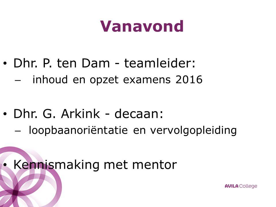 Vanavond Dhr. P. ten Dam - teamleider: – inhoud en opzet examens 2016 Dhr.