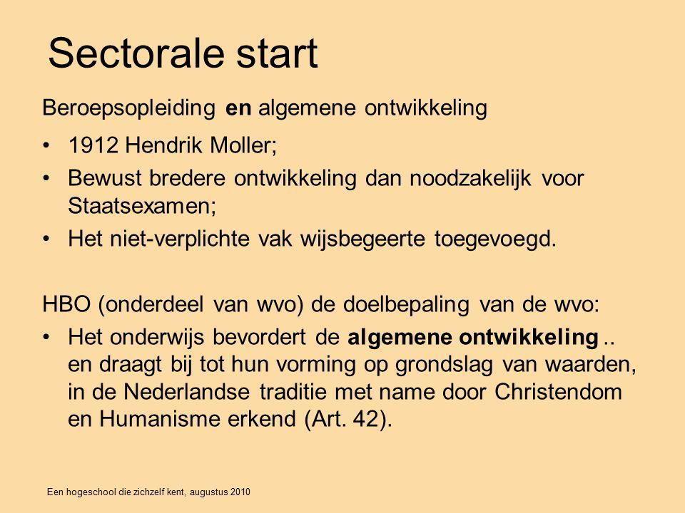 Een hogeschool die zichzelf kent, augustus 2010 Sectorale start 1912 Hendrik Moller; Bewust bredere ontwikkeling dan noodzakelijk voor Staatsexamen; Het niet-verplichte vak wijsbegeerte toegevoegd.