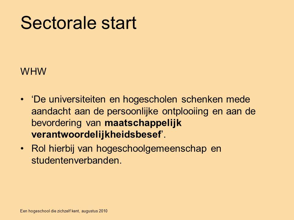 Een hogeschool die zichzelf kent, augustus 2010 Sectorale start 'De universiteiten en hogescholen schenken mede aandacht aan de persoonlijke ontplooiing en aan de bevordering van maatschappelijk verantwoordelijkheidsbesef'.